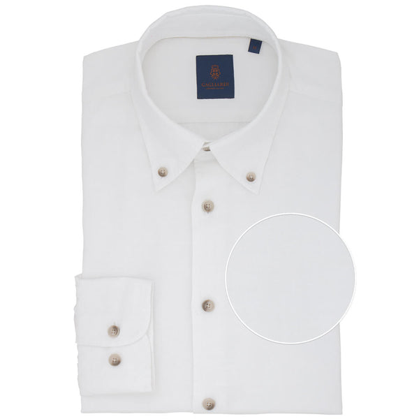 Tailored Fit White Button Down Linen Shirt - Gagliardi
