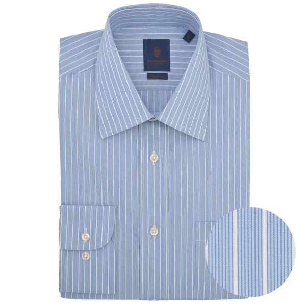 Tailored Fit Blue Stripe Classic Collar Shirt - Gagliardi