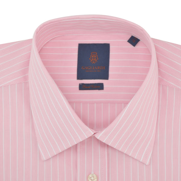 Tailored Fit Pink Stripe Classic Collar Shirt - Gagliardi