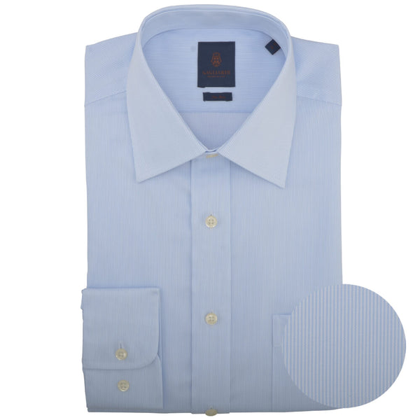 Tailored Fit Sky Hairline Stripe Cutaway Collar Non-iron Shirt - Gagliardi
