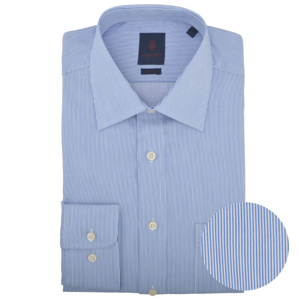 Tailored Fit Blue Hairline Stripe Classic Collar Non-iron Shirt - Gagliardi