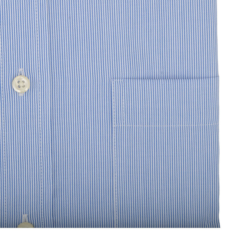 Tailored Fit Blue Hairline Stripe Classic Collar Non-iron Shirt