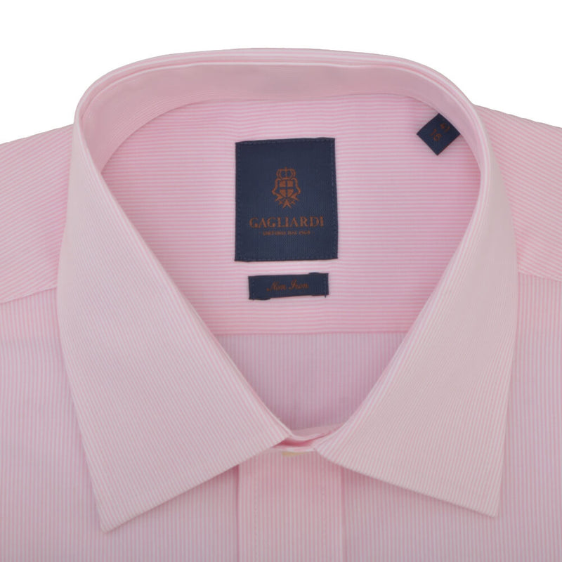 Tailored Fit Pink Hairline Stripe Classic Collar Non-iron Shirt - Gagliardi