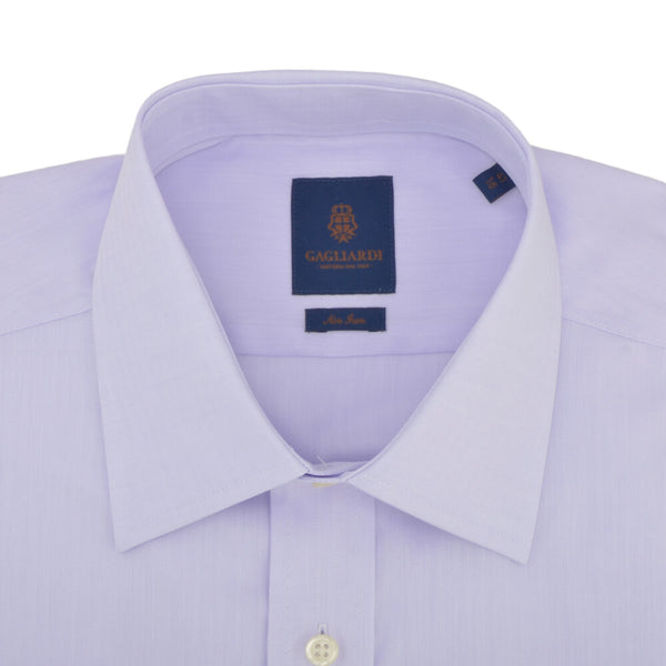 Tailored Fit Lilac Herringbone Classic Collar Non-iron Shirt - Gagliardi