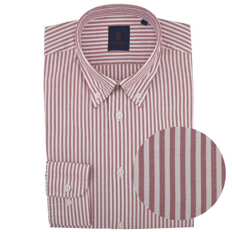 Tailored Fit Red Stripe Oxford Button Down Shirt - Gagliardi