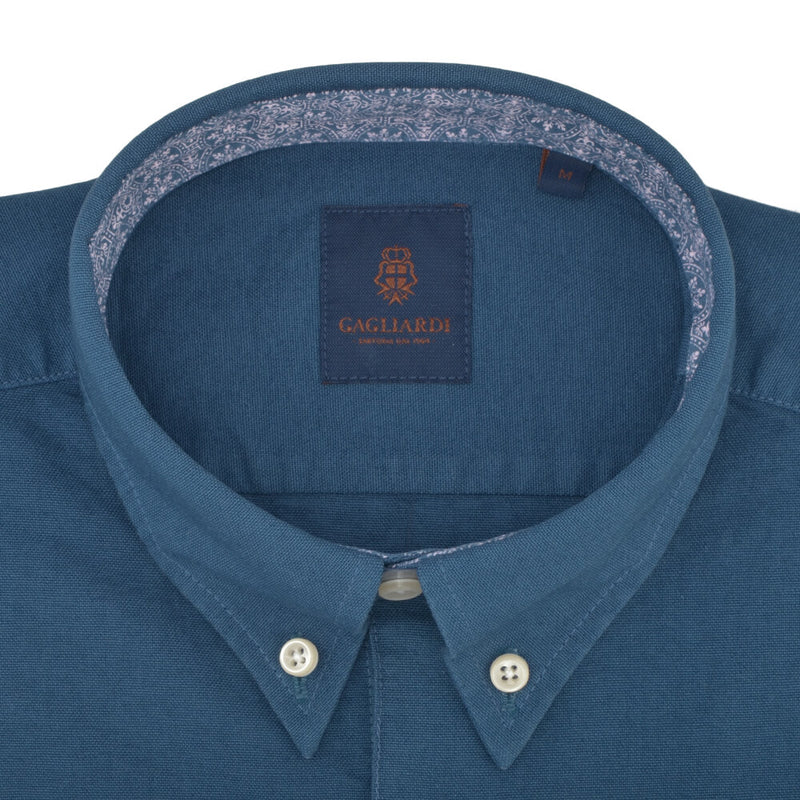 Tailored Fit Blue Oxford Button Down Collar Shirt - Gagliardi