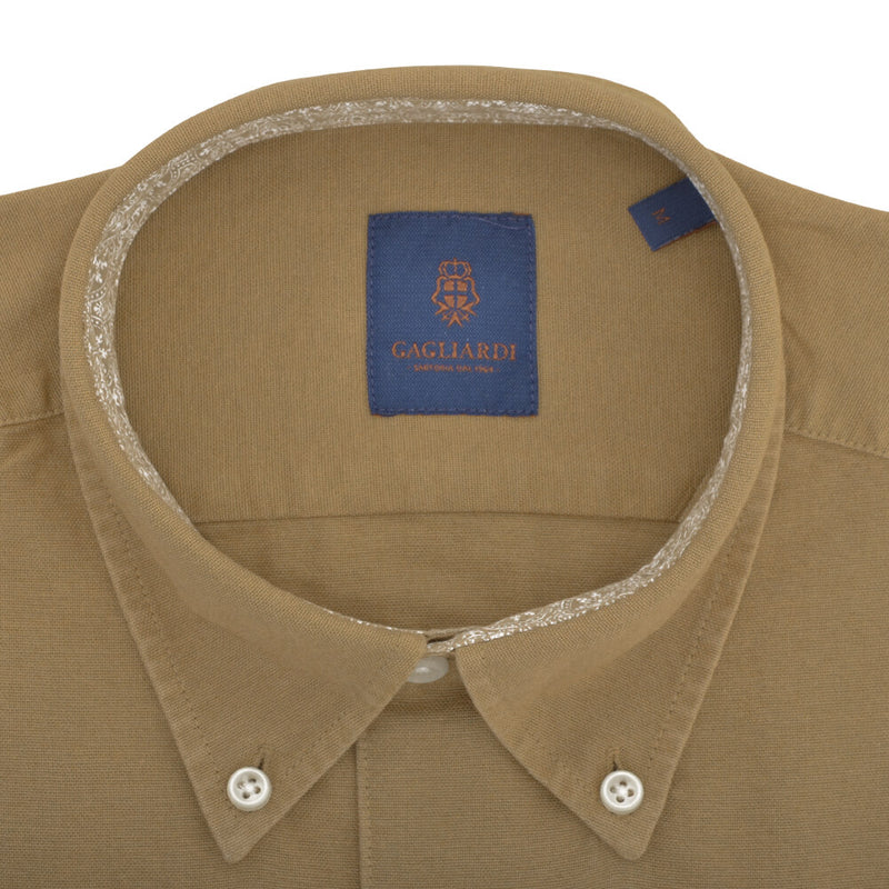 Tailored Fit Mustard Oxford Button Down Collar Shirt - Gagliardi