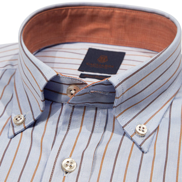 Tailored Fit Brown & Camel Stripe Button Down Shirt