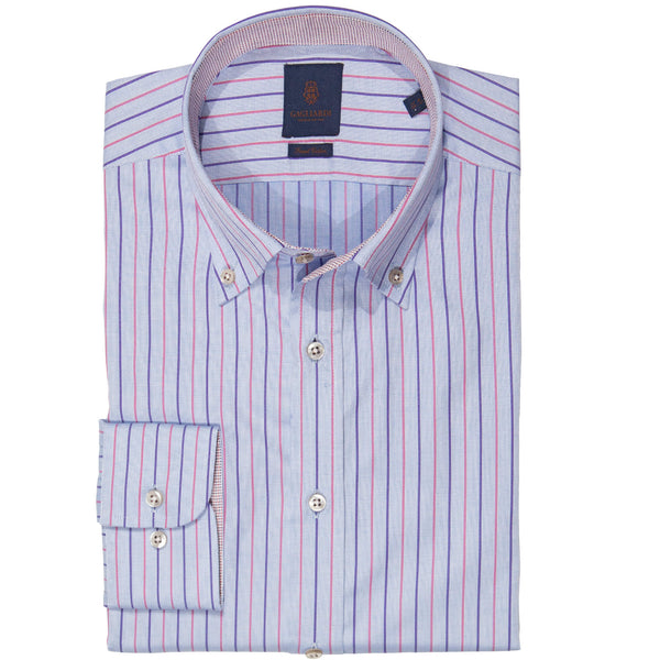 Tailored Fit Pink & Purple Stripe Button Down Shirt