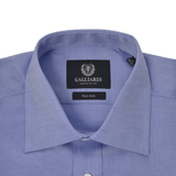 Blue Oxford Tailored Fit Classic Collar Single Cuffed Shirt - Gagliardi