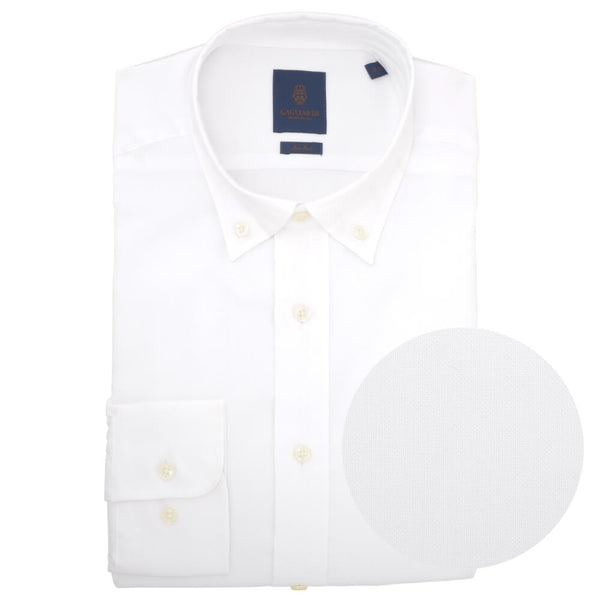 Tailored Fit White Oxford Button Down Non-iron Shirt - Gagliardi