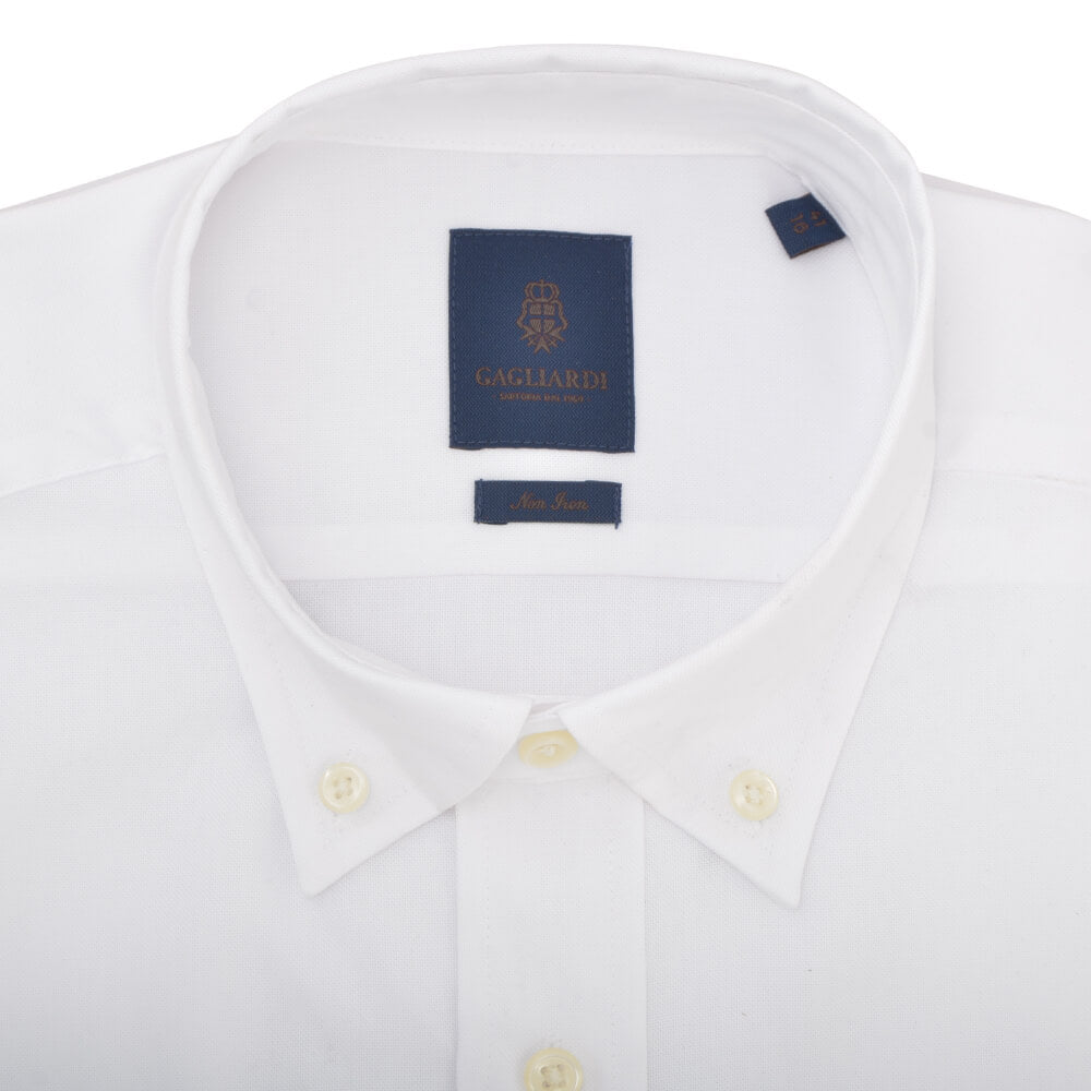 Tailored Fit White Oxford Button Down Non-iron Shirt