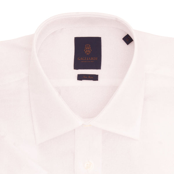 White Basketweave Tailored Fit Short Sleeve Classic Collar Shirt - Gagliardi