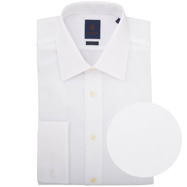 Tailored Fit White Poplin Cutaway Collar Non-iron Shirt