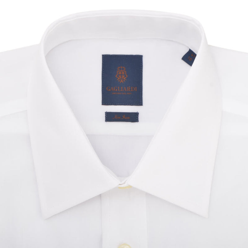 Tailored Fit White Poplin Cutaway Collar Non-iron Shirt - Gagliardi