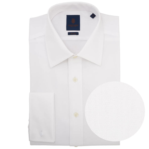 Tailored Fit White Herringbone Classic Collar Double Cuff Non-iron Shirt - Gagliardi