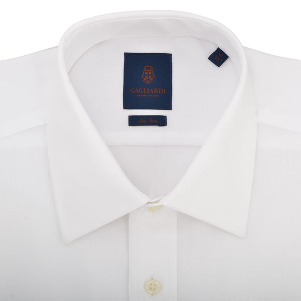 Tailored Fit White Herringbone Classic Collar Double Cuff Non-iron Shirt