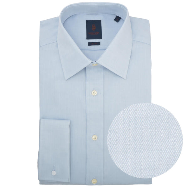 Tailored Fit Sky Herringbone Classic Collar Double Cuff Non-iron Shirt - Gagliardi