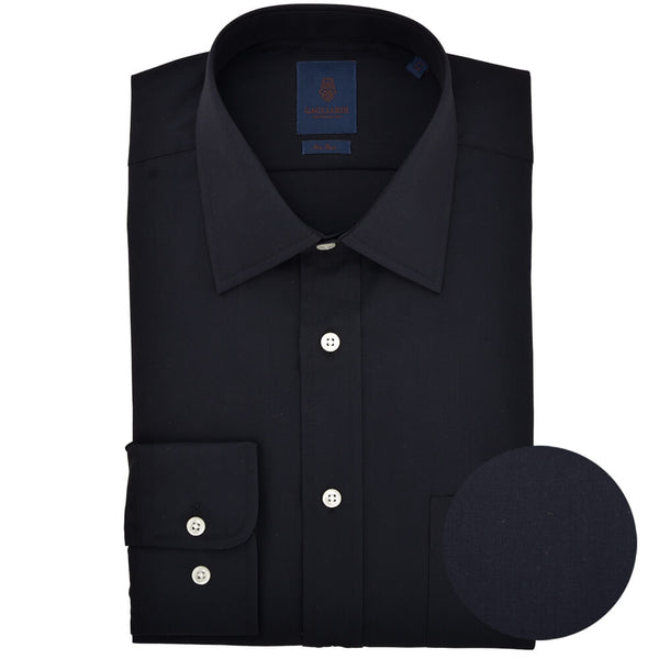 Tailored Fit Black Poplin Classic Collar Non-iron Shirt - Gagliardi