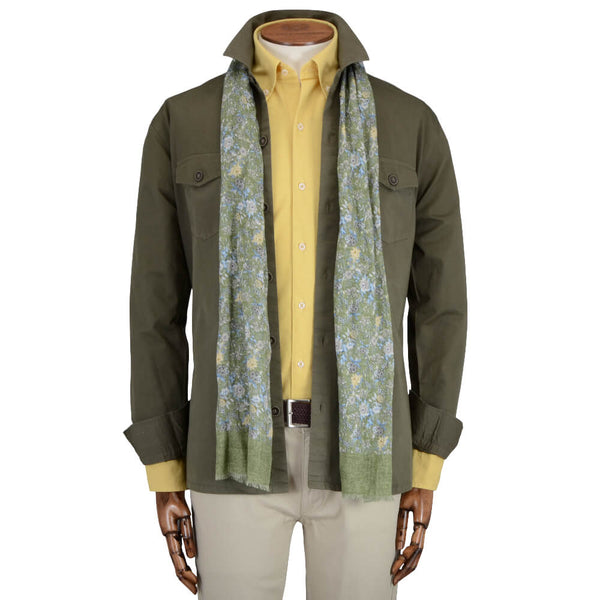 Olive Cotton Overshirt - Gagliardi