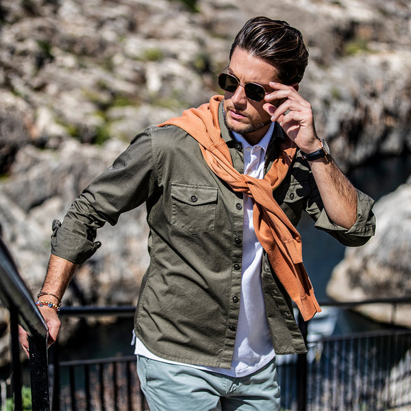 Olive Cotton Overshirt