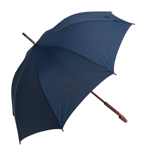 Navy Umbrella With Wooden Handle - Gagliardi