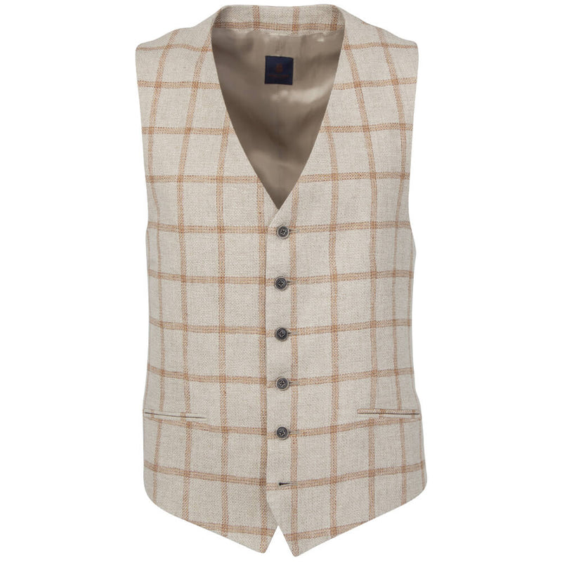 Beige & Orange Windowpane Basketweave Waistcoat - Gagliardi