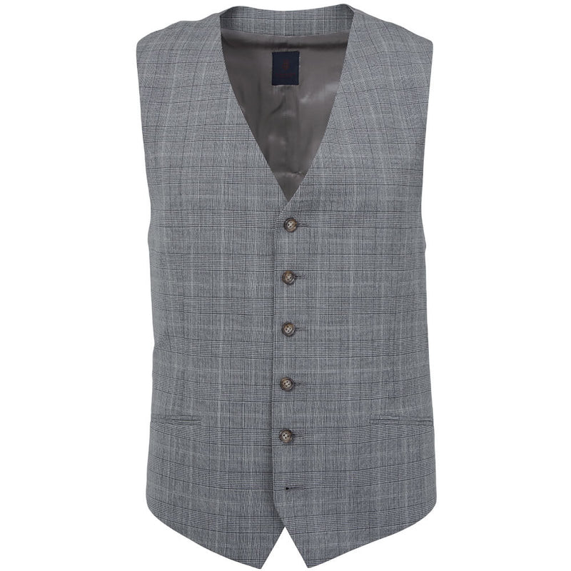 Light Grey Prince of Wales Check Waistcoat - Gagliardi