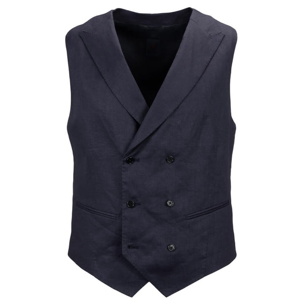 Navy Linen Double Breasted Mix and Match Waistcoat - Gagliardi