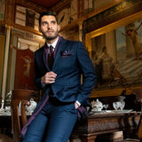 Lanificio Ing. Loro Piana Dark Blue Subtle Check Two-Piece Suit - Gagliardi