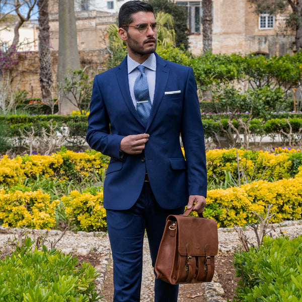 Lanificio Ing. Loro Piana Blue Textured Weave Two-Piece Suit