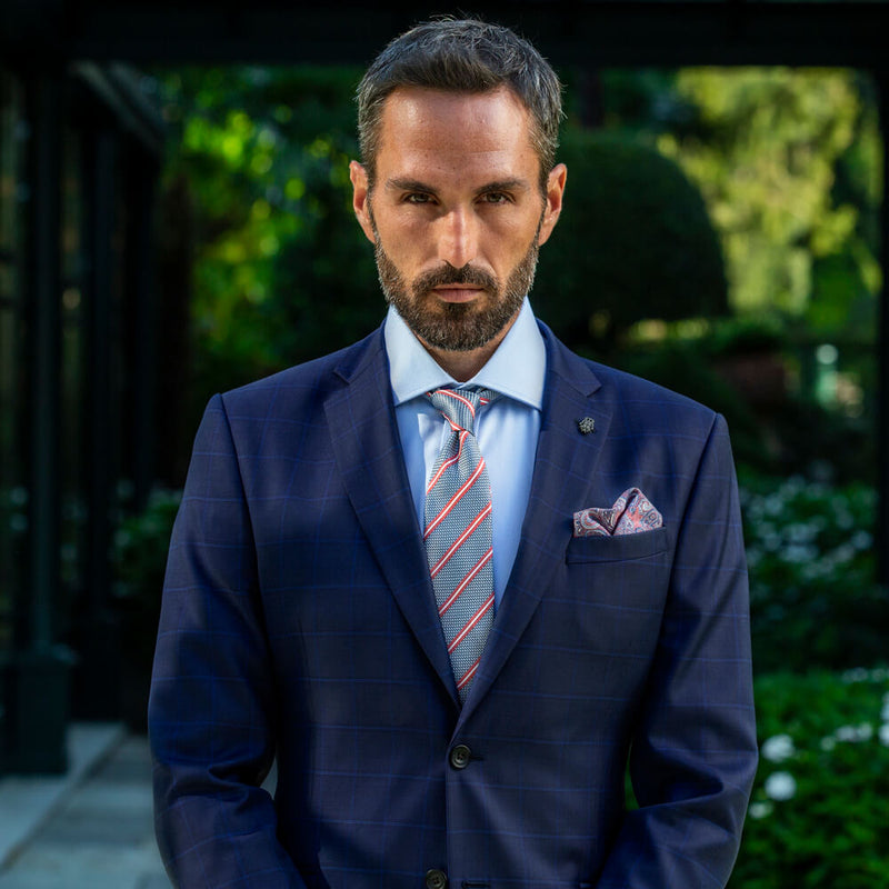 Lanificio Ing. Loro Piana Navy Tonal Windowpane Check Two-Piece Suit - Gagliardi