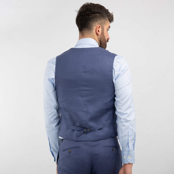 Royal Blue Double Breasted Linen Waistcoat
