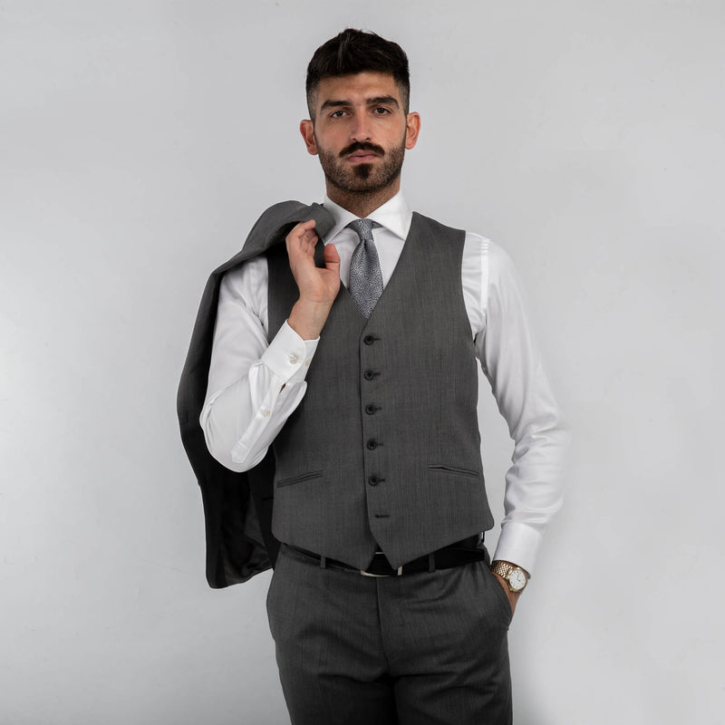 Lanificio F.lli Cerruti Light Grey Herringbone Waistcoat