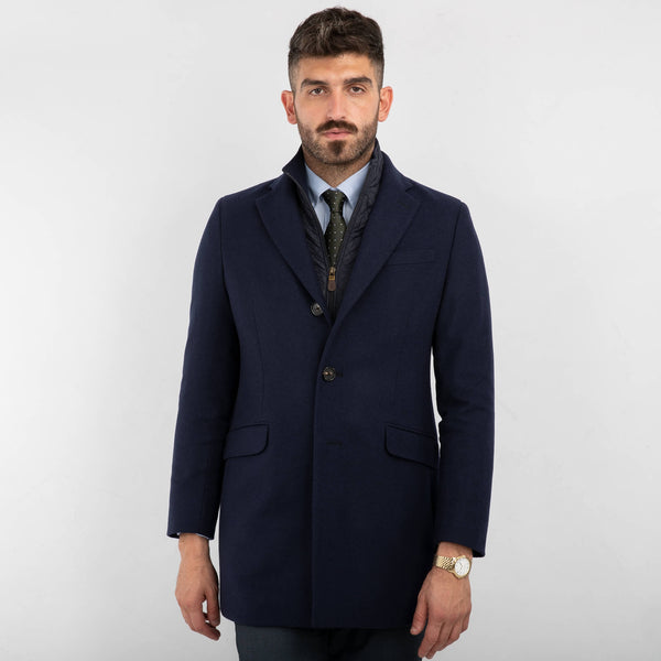 Navy Plain Pettorina Coat
