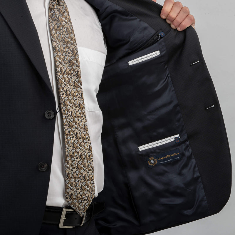 Navy Micro Texture Mix & Match Jacket