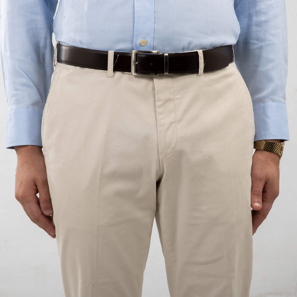 Washed White Cotton Twill Chino Trousers