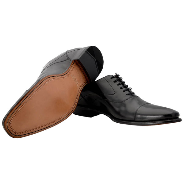 Black Polished Leather Shoes with Goodyear Welted Soles