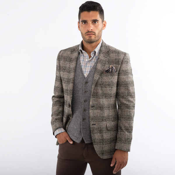 Di Fabio Beige & Brown Check Boucle Jacket