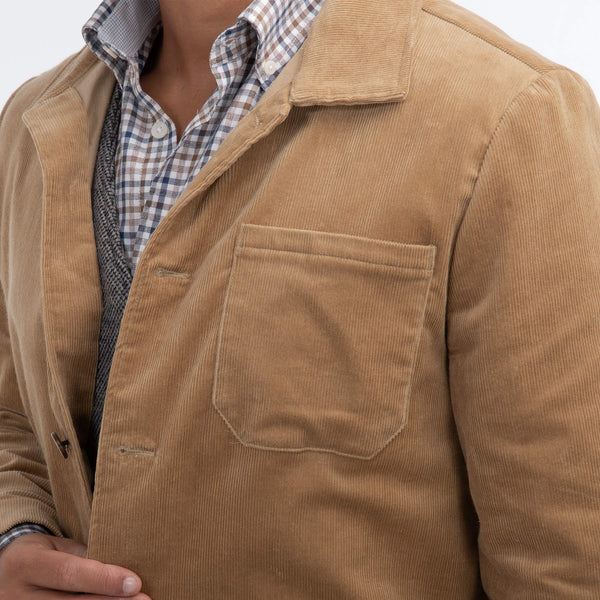 Beige Needle Cord Shirt Jacket
