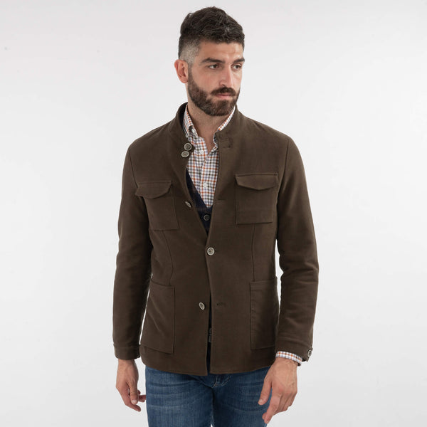 Brown Moleskin Nehru Collar Jacket