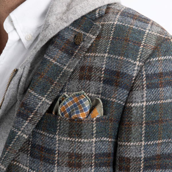 Teal & Beige Check Jacket