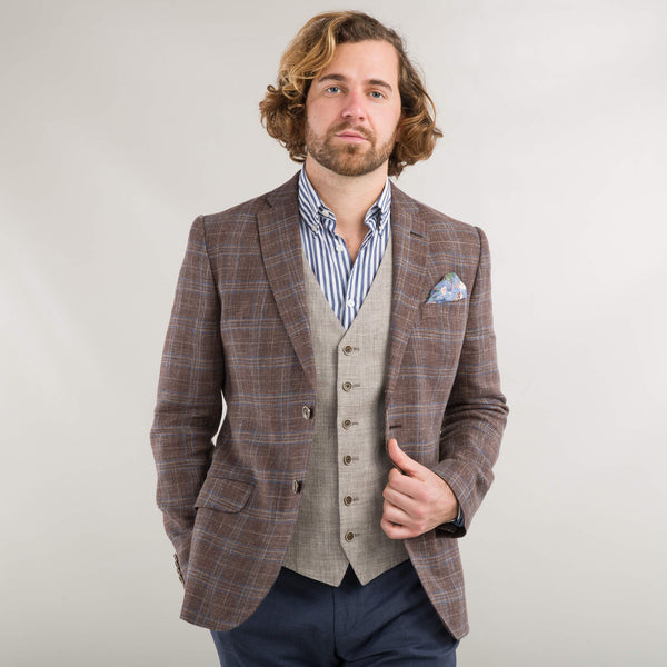 Brown Linen And Wool Check Jacket
