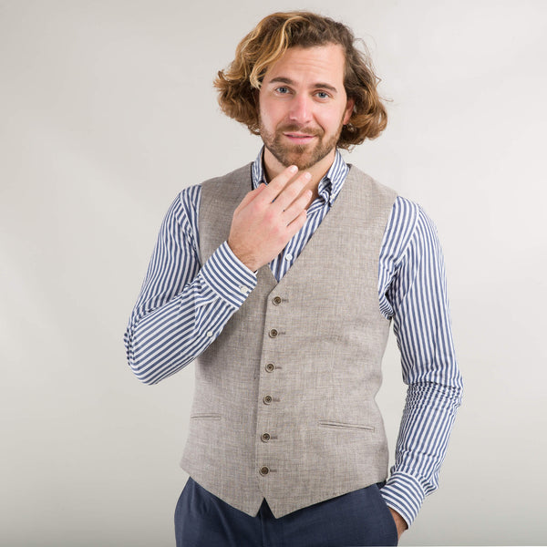 Natural Linen And Wool Waistcoat