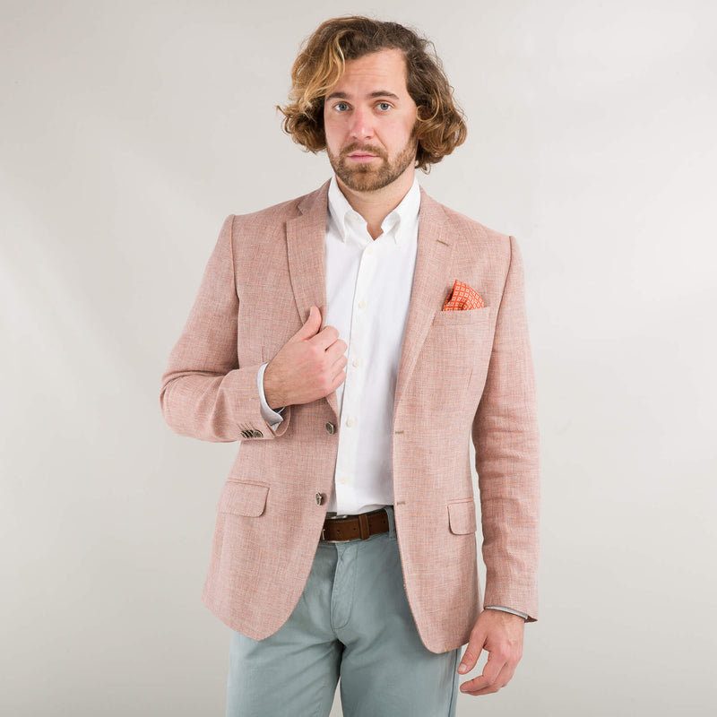 Orange Linen And Wool Jacket