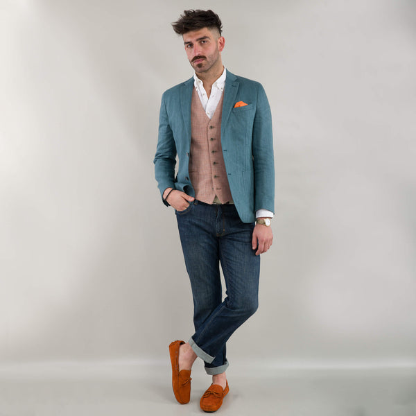 Teal Herringbone Jacket