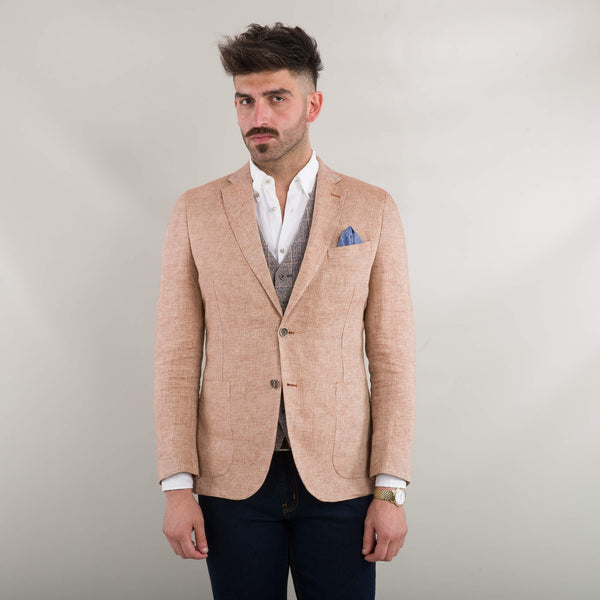 Orange Puppytooth Linen Jacket