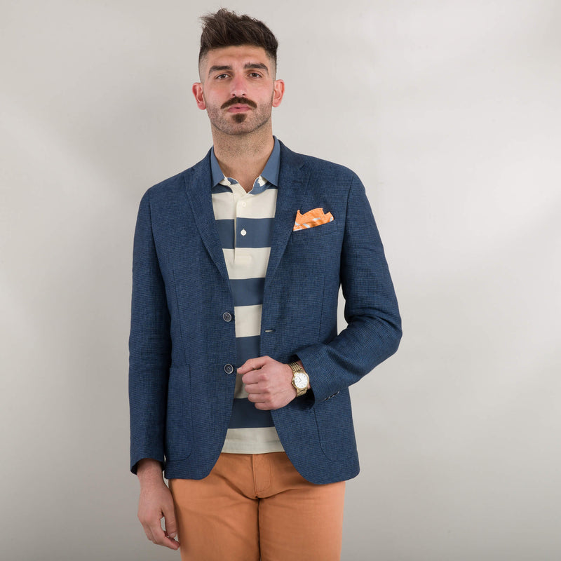 Blue Dogstooth Linen Jacket