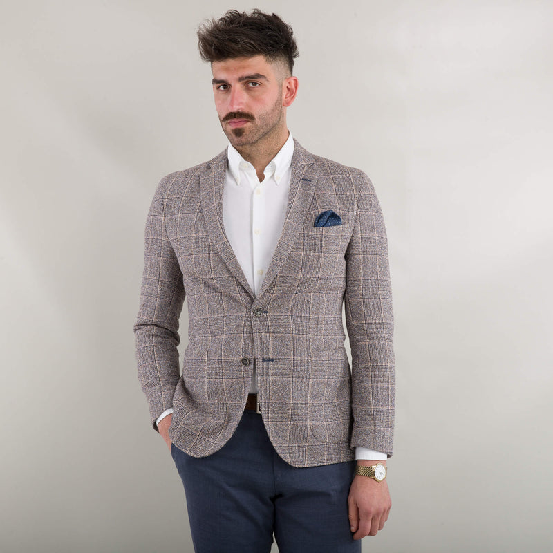 Beige & Blue Boucle Check Jacket