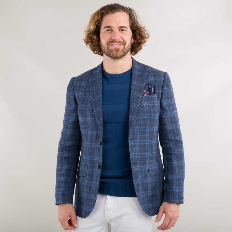 Navy Linen And Wool Check Jacket